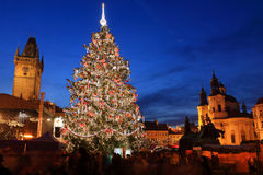 Christmas Mood on the night Old Town Square, Prague, Czech Republic Stock Photo