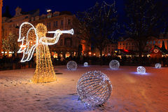 Christmas Mood on the night snowy Old Town Square, Prague, Czech Republic Stock Photos