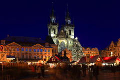 Christmas Mood on the night snowy Old Town Square, Prague, Czech Republic Royalty Free Stock Images