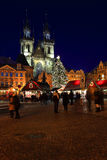 Christmas Mood on the night snowy Old Town Square, Prague, Czech Republic Stock Photo
