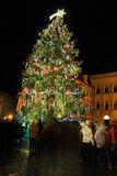 Christmas Mood on the night snowy Old Town Square, Prague, Czech Republic Royalty Free Stock Photos