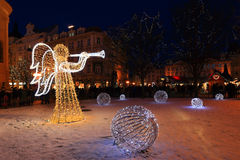 Christmas Mood on the night snowy Old Town Square, Prague, Czech Republic Royalty Free Stock Photography