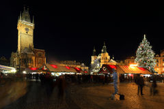 Christmas Mood on the night snowy Old Town Square, Prague, Czech Republic Royalty Free Stock Image