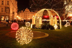 Christmas Mood on the Old Town Square, Prague Stock Photo