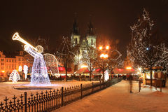 Christmas Mood On Snowy Prague Old Town Square Stock Images