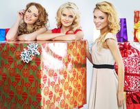 Christmas mood portrait of three women Royalty Free Stock Images