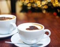 Christmas mood and some coffee. Coffe shop cafe Interior with Christmas mood Stock Image