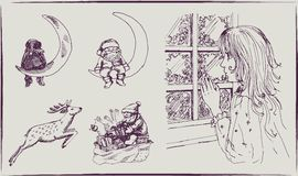 Christmas mood: waiting for a miracle. Set of vector sketches royalty free illustration
