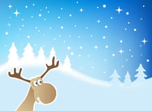 Christmas Moose. Cute Moose in a Winter Landscape Royalty Free Stock Photography