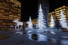Christmas moose and christmas trees made of light Royalty Free Stock Photo