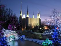 Christmas at the Mormon Temple Stock Image