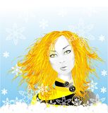 Christmas morning. Beautiful girl, golden hair, urban style, blue sky Royalty Free Stock Images