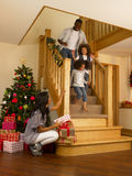 Christmas Morning. Young African American family on Christmas morning royalty free stock photo