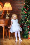 Beautiful girl stands near a festive Christmas tree stock images