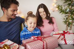 Christmas morning. In the bed Royalty Free Stock Images