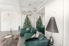 Christmas morning. classic luxurious apartments with decorated christmas tree. Living hall large mirror, green sofa. Christmas morning. classic luxurious stock photography