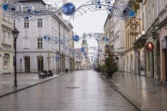 Christmas morning in downtown Krakow, Poland stock image