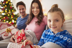 Christmas morning. With family in bed Stock Images