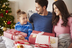 Christmas morning. In family circle Royalty Free Stock Photo