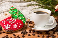 Christmas morning - gingerbread and hot coffee and Christmas dec. Or .Postcard template Stock Image