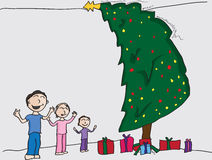Christmas Morning. Illustration of a boy and his two little sisters on christmas morning Royalty Free Stock Images