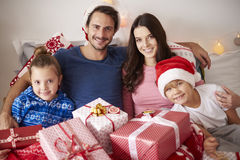 Christmas morning. Portrait of family in Christmas time Royalty Free Stock Photos