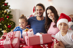 Christmas morning. Portrait of happy family at Christmas Royalty Free Stock Images