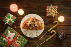 Christmas morning table with croissant and gifts. Top view Royalty Free Stock Photo