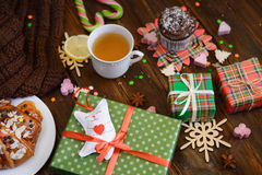 Christmas morning table with croissant and gifts. Top view Stock Images