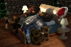 Christmas Morning - Teddies Stock Images