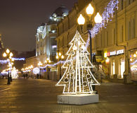 Christmas Moscow. MOSCOW - DECEMBER 29, 2013: Old Arbat street illuminated for Christmas and New Year holidays Royalty Free Stock Photo