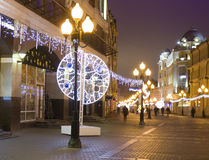 Christmas Moscow. MOSCOW - DECEMBER 29, 2013: Old Arbat street illuminated for Christmas and New Year holidays Royalty Free Stock Photography