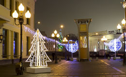 Christmas Moscow. MOSCOW - DECEMBER 29, 2013: Old Arbat street illuminated for Christmas and New Year holidays Royalty Free Stock Photos