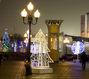 Christmas Moscow. MOSCOW - DECEMBER 29, 2013: Christmas trees on Old Arbat street Royalty Free Stock Photography