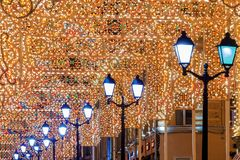 Christmas in Moscow.Festivally decorated with Nikolskaya street Stock Image