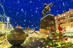 Christmas in Moscow. Festive decoration at the monument to Yuri. Dolgoruky.Inscription on the monument to the Russian language: the founder of Moscow, Yuri Royalty Free Stock Image