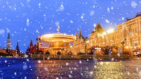 Christmas in Moscow. Festive decoration of Red Square in Moscow.  stock image