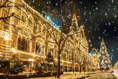 Christmas in Moscow. festive decoration Red Square.  royalty free stock image