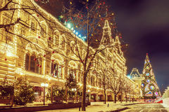 Christmas in Moscow. festive decoration Red Square.  royalty free stock photo