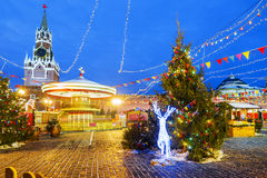 Christmas in Moscow. Festive decoration of Red Square in Moscow.  stock photos