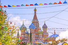 Christmas in Moscow. Festive decoration of Red Square in Moscow.  royalty free stock photos