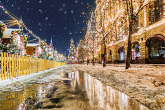 Christmas in Moscow. Festive decoration of Red Square in Moscow.  stock images