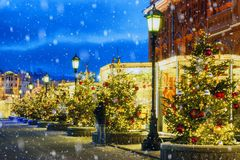 Christmas in Moscow. Festively decorated Moscow streets.  royalty free stock photo