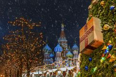 Christmas in Moscow. New Year`s Decoration of the Red in Moscow stock images