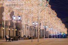 Christmas in Moscow. Nikolskaya street Stock Images