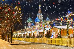 Christmas in Moscow. Red Square in Moscow.  Stock Image