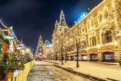 Christmas in Moscow. Red Square in Moscow.  Royalty Free Stock Photo