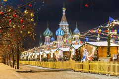 Christmas in Moscow. Red Square in Moscow.  Stock Photos