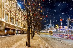 Christmas in Moscow. Red Square decorated for the New Year.  Stock Photos