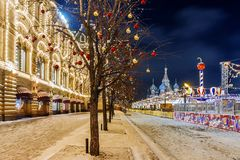 Christmas in Moscow. Red Square decorated for the New Year.  Royalty Free Stock Photo